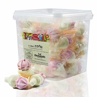 50 יחידות מרשמלו בצורת גלידה מוקצף עטוף כל יחידה משקולדיס