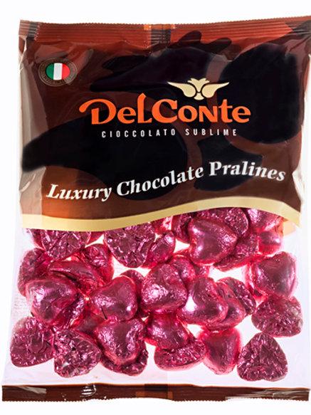 שוקולד (Delconte) לבבות פרווה ורוד 500 גרם משקולדיס