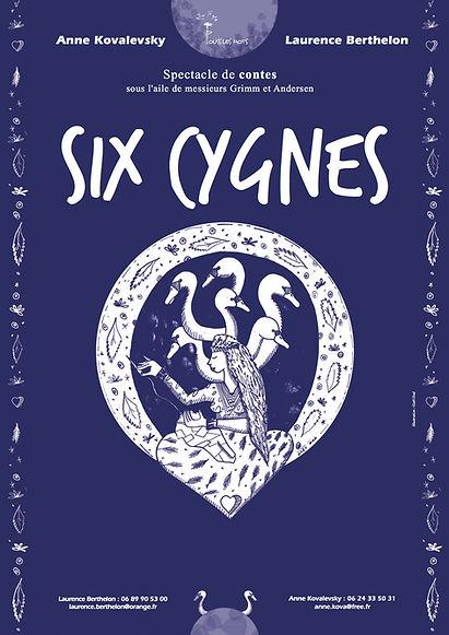 Affiche du spectacle de contes Six cygnes - Laurence Berthelon et Anne Kovalesky - Grimm et Andersen