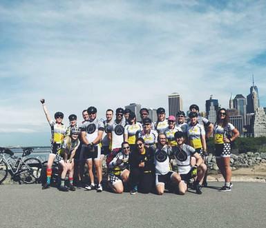 Team Bike Beyond pre-tire dipping ceremony in Brooklyn