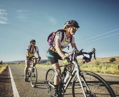 Sierra and Meagan Banks biking through Utah