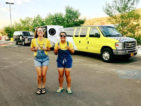 Sierra and Silvi on van duty for minion day
