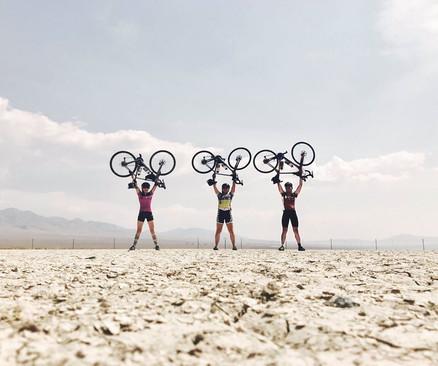 Sierra, Meagan B., and Ryan D. riding through Nevada