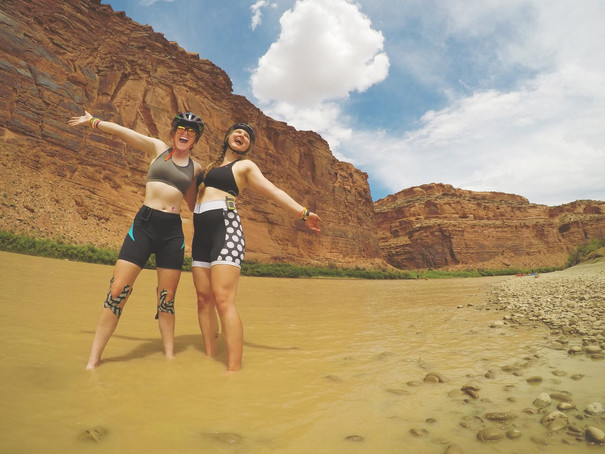 Sierra and Meagan B. in the Utah River outside Moab