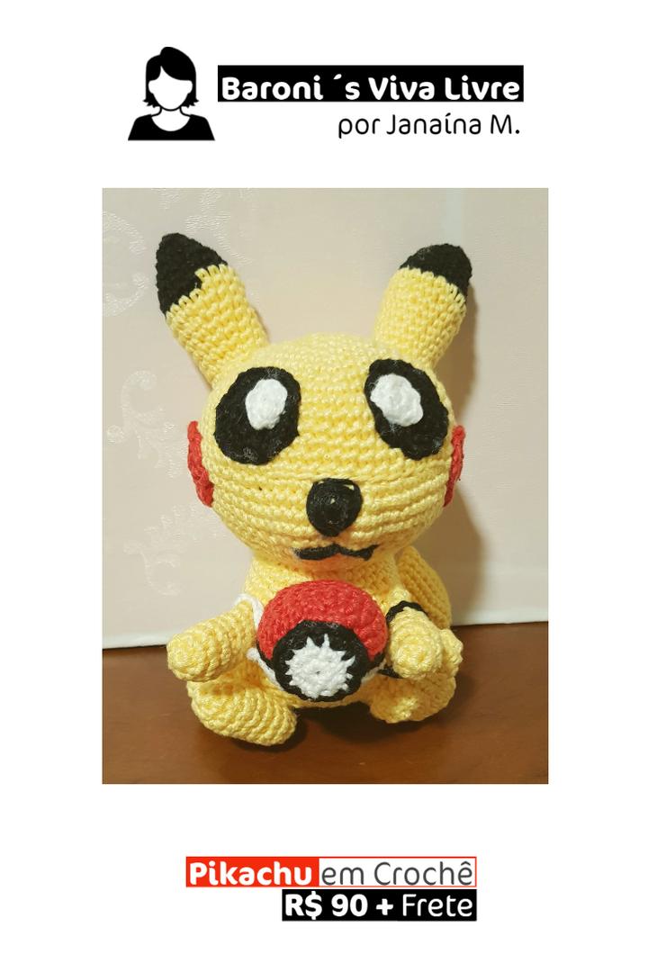 Pikachu com Pokeball em Crochê