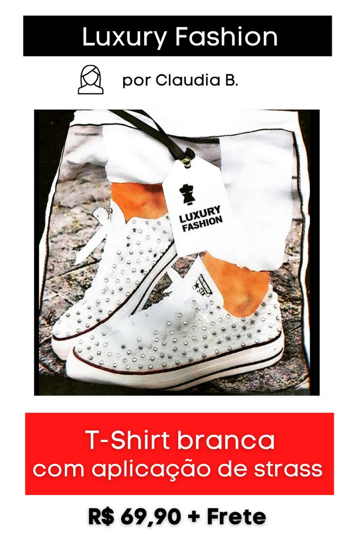 T-Shirt Branca com Strass no Tênis