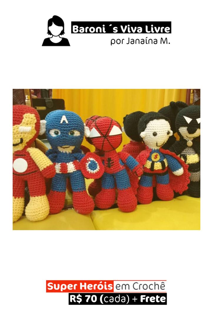 Super Heróis em Crochê