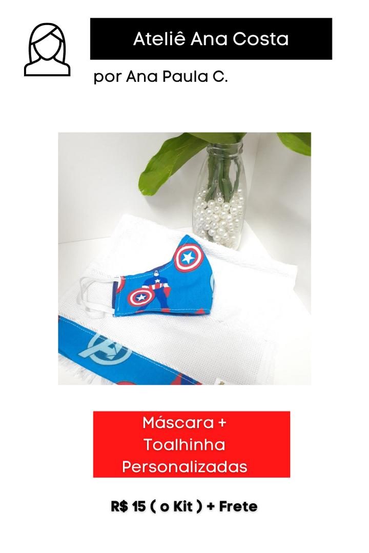 Máscara + Toalhinha Personalizadas