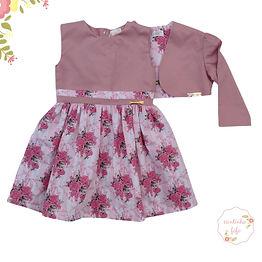 Vestido  com Bolero Flores Rose