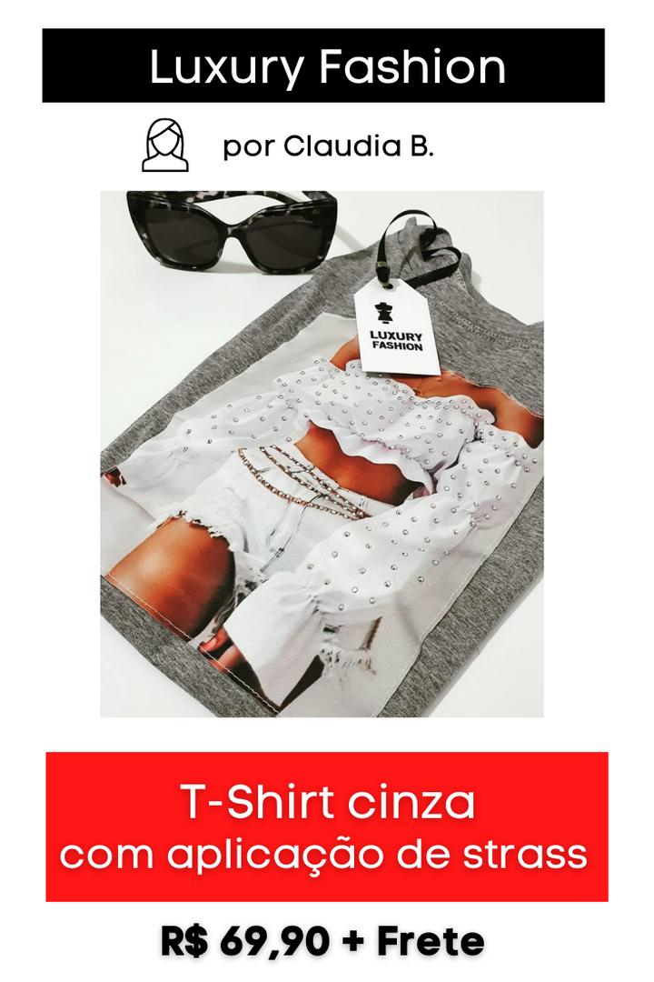 T-Shirt Cinza com Aplicação de Strass