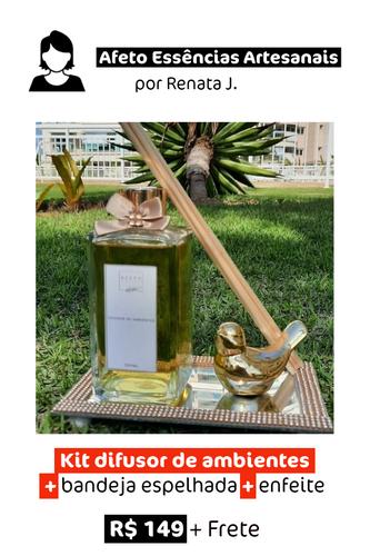 Kit difusor de ambientes com bandeja espelhada + Enfeite