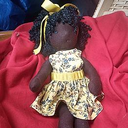 Boneca Negra de Pano (30cm)