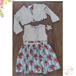 Vestido com Bolero Verde Vintage/bege Flores