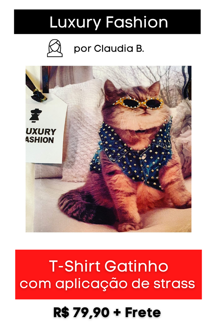 T-Shirt Gatinho com Aplicação de Strass