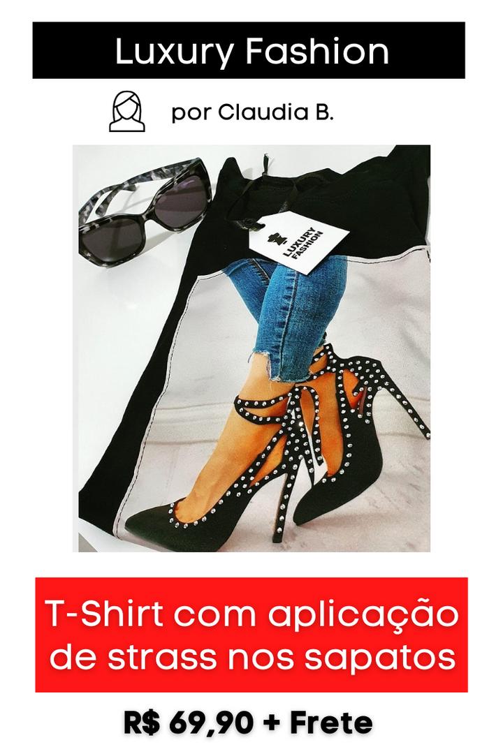 T-Shirt mara com Aplicação de Strass nos Sapatos