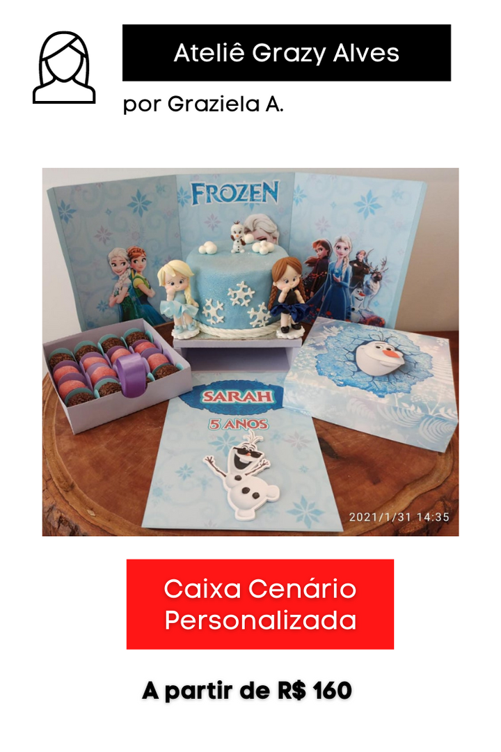 Caixa Cenário Personalizada   Tema: Frozen