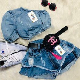 Cropped e Shorts Jeans