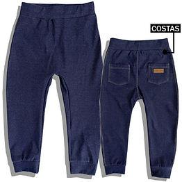 Calça Sarouel Fake Jeans Azul