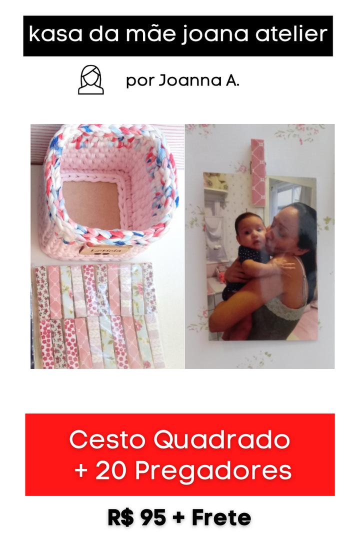 Kit Cesto Quadrado + 20 Pregadores