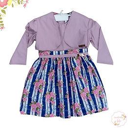 Vestido com Bolero Rose/Azul Flores