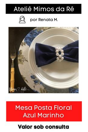 Mesa Posta Floral Azul Marinho