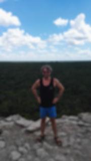 Samuel Johnson on Nohoch Mul pyramid in Cobá, Mexico (summer of 2017).