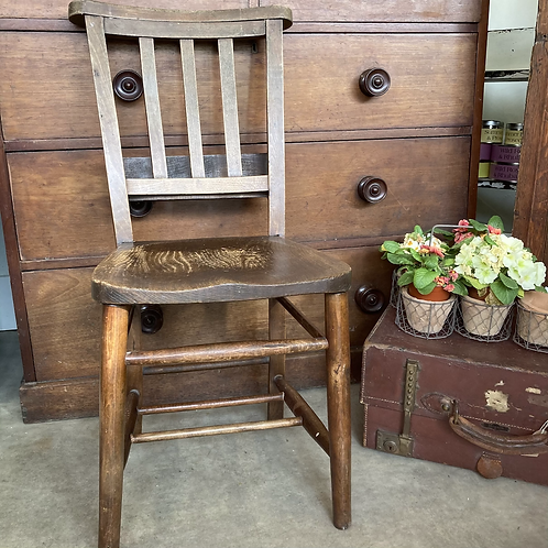 Vintage Wooden Chapel Chair, secondhand and antique furniture at Source for the Goose