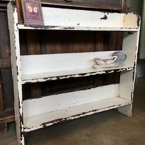 Chippy White Painted Bookcase, vintage secondhand furniture at Source for the Goose, Devon