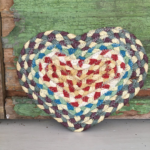 Heart Shaped Coaster in colour way Carnival to buy in Devon