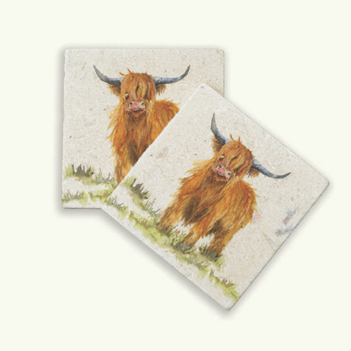 Kate of Kensington Highland Cow marble coasters, British designs at Source for the Goose