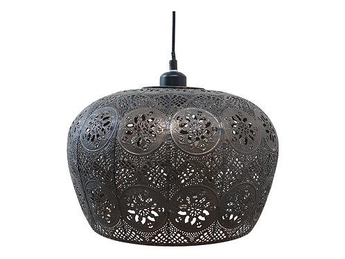 Hanging Metal Fretwork Lamp, antique bronze effect finish