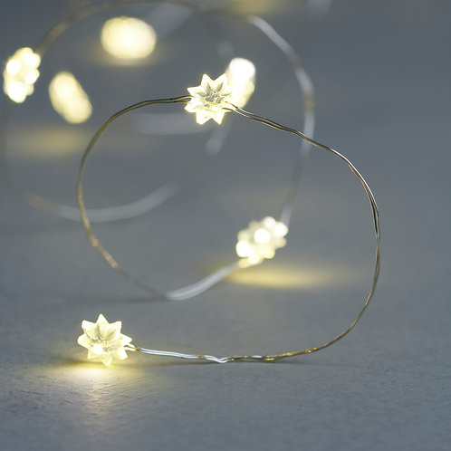 Warm white flower LEDS on silver wire, Christmas interiors at Source for the Goose, South Molton, Devon