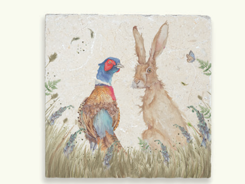 Kate of Kensington Country Companions Pheasant and Hare marble trivet, to buy at Source for the Goose