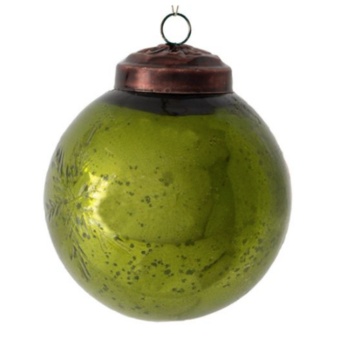 Green Etched Large Christmas Bauble, vintage style Christmas interiors at Source for the Goose, Devon