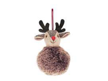 Hanging Festive deer bauble with furry body, christmas interiors at Source for the Goose, South Molton, Devon