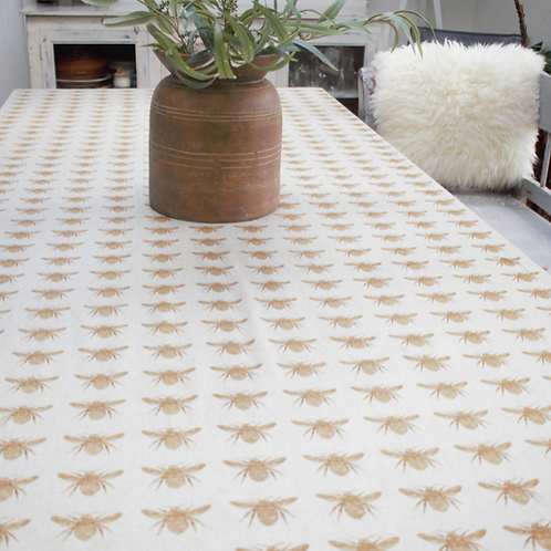 Mustard Yellow Bee Design Tablecloth, rustic interiors at Source for the Goose, Devon