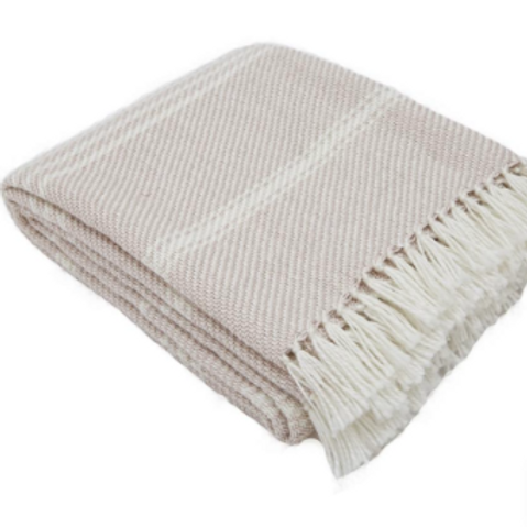Weaver Green Oxford Stripe Blanket in Shell Pink, to buy at Source for the Goose