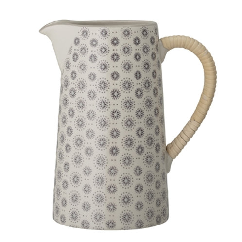 Grey and Old White Patterned jug with raffia handle, retro style homewares at Source for the Goose