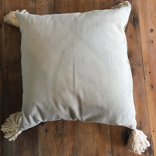 Delightful Grey Cushion with Taupe Tassels