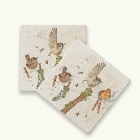 Kate of Kensington Laundry Day marble coasters, a selection of british birds on a washing line