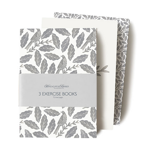 Set of Three Songbird Notebooks with birds and leaves design, homewares at Source for the Goose, Devon