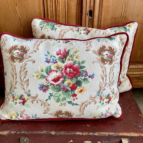 Pretty handmade floral cushion, vintage interiors at Source for the Goose, Devon