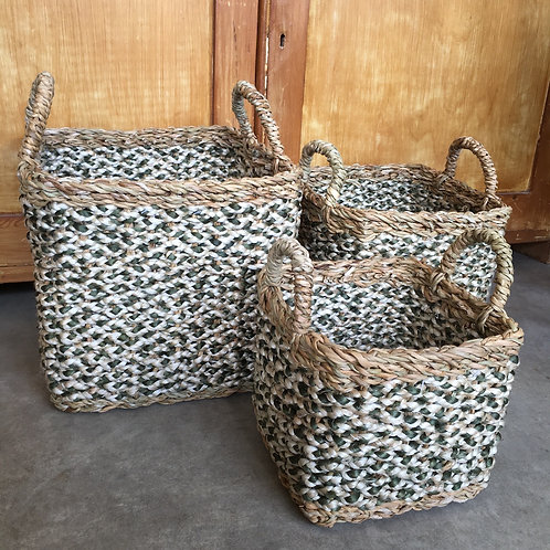 Olive/White organic jute square baskets with handles, rustic interiors at Source for the Goose