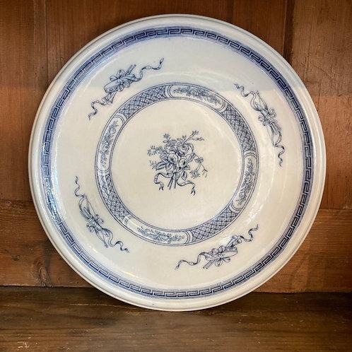 Round Blue and White Platter, Danish design ironstone