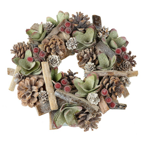 Pine Cone Christmas Wreath in red, gold and green, traditional christmas interiors at Source for the Goose, Devon