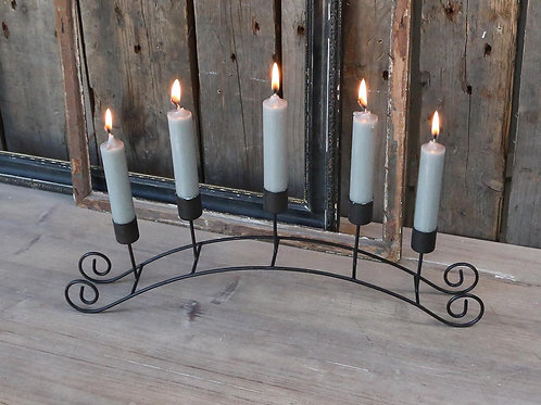 Scrolled Metal Candleholder in coal colour finish, Chic Antique interiors at Source for the Goose, Devon
