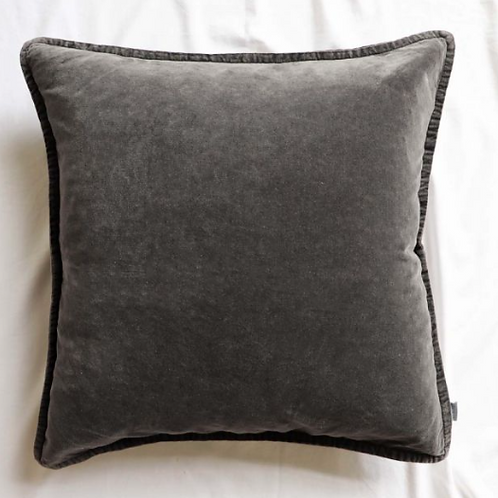 Charcoal Stonewashed Velvet Cushion, a new but vintage looking feather filled cushion in dark grey, at Source for the Goose