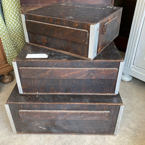 Set of Three Vintage Wooden Wedding Cake Delivery Boxes