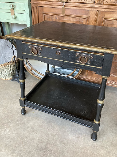Black painted Arts and Crafts style occasional table, vintage and secondhand furniture at Source for the Goose, Devon