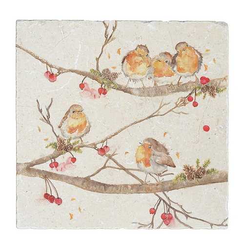 Robins on a Berry Branch Kate of Kensington square trivet, british made homewares at Source for the Goose, Devon
